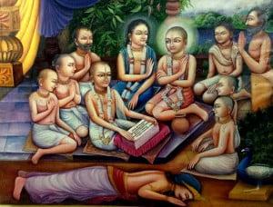 Sri Gadadhara reciting Bhagavatam/copyright Jiva Institute